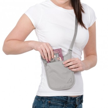 Pacsafe Coversafe V75 skryté vrecko na krk sivé